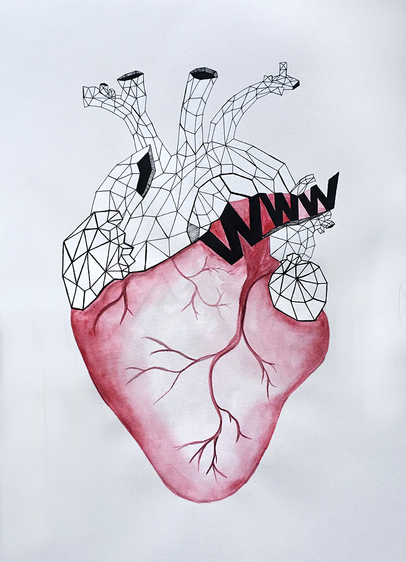 Watercolor and ink heart, with www floating in the veins