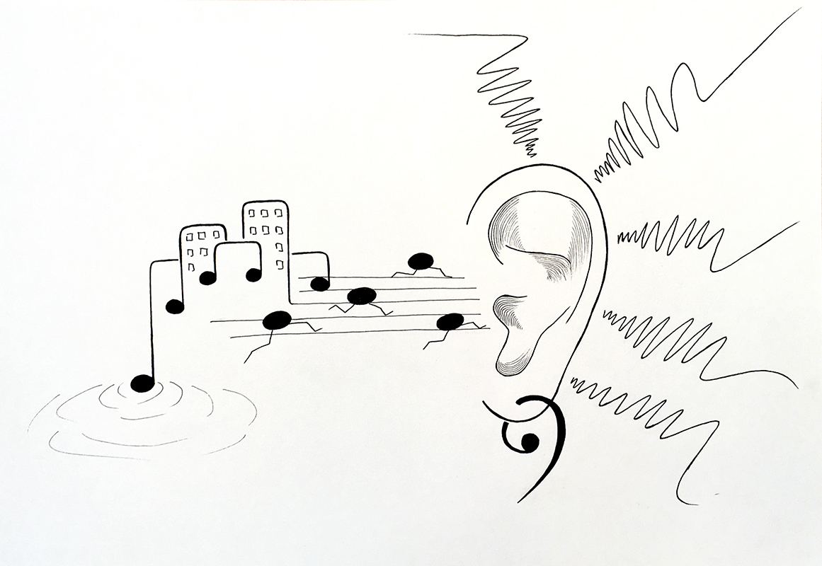 Sound illustration, pen on paper