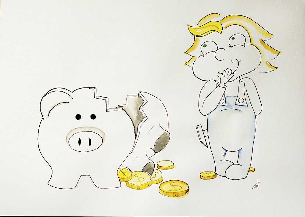 Illustrating Mischief, child braking piggy bank