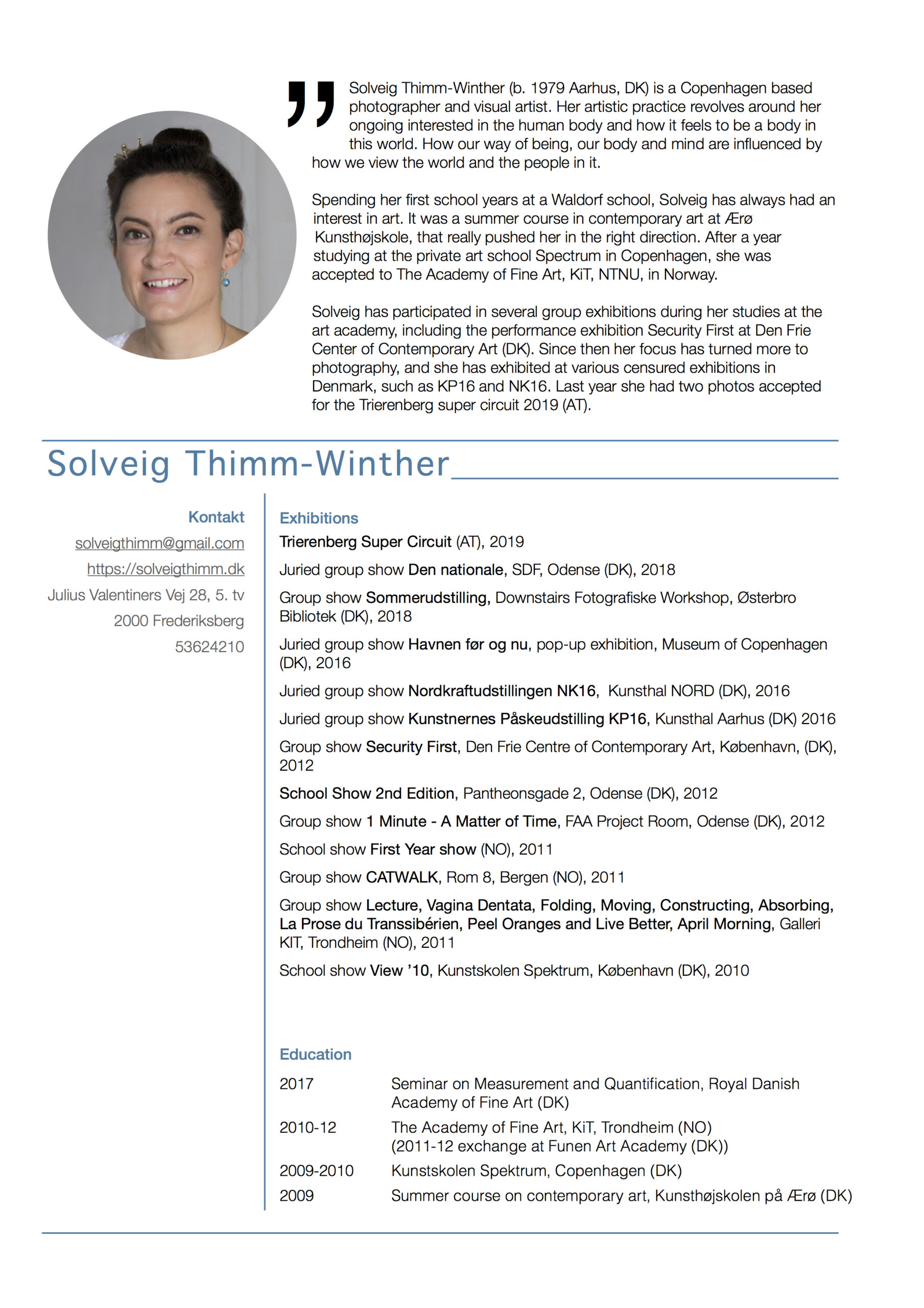 Artist CV, Solveig Thimm-Winther